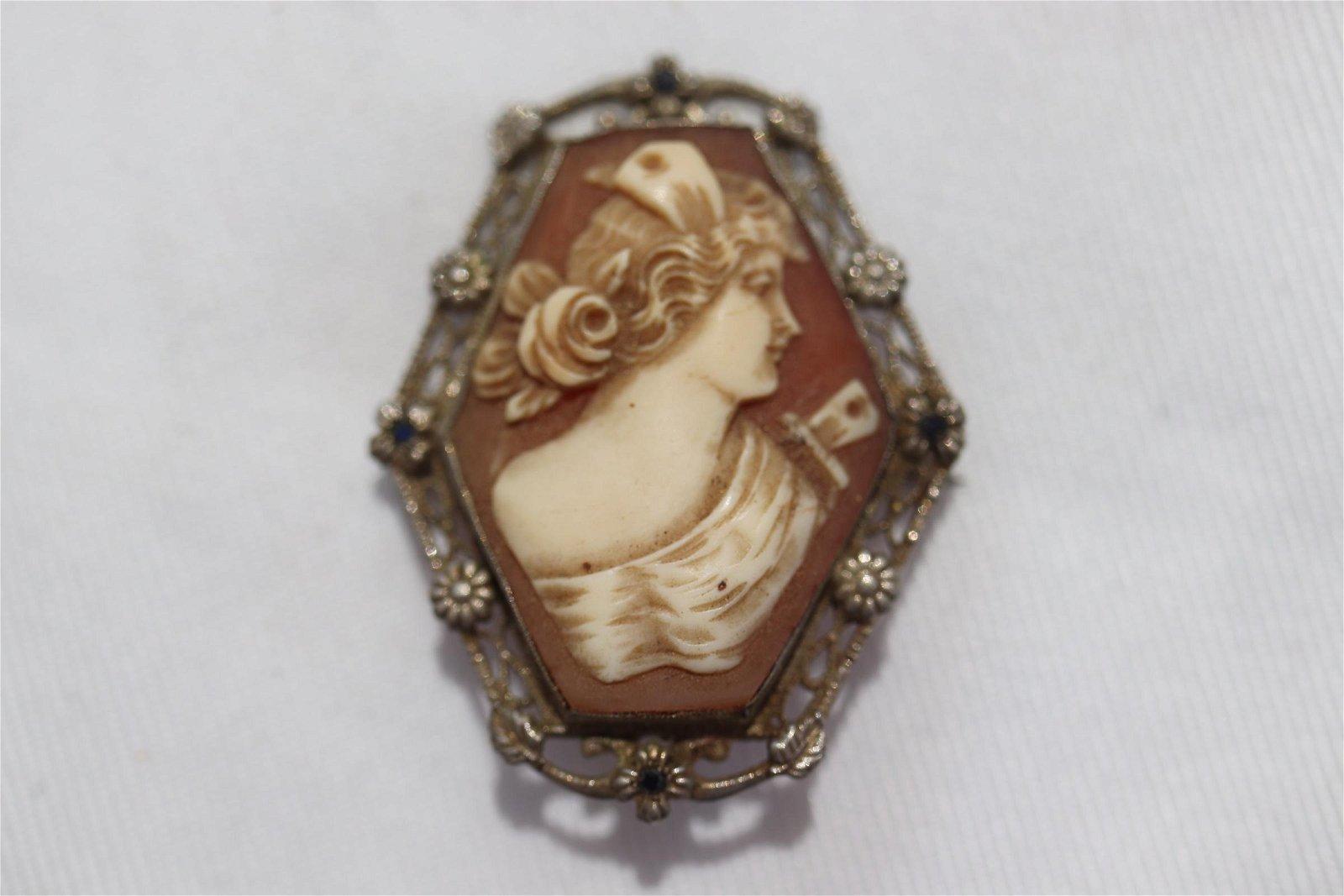 Antique Art Nouveau Cameo Brooch with Sapphire
