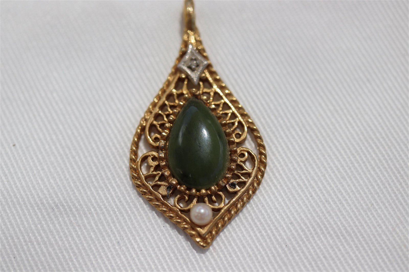 Vintage Gold tone Teardrop Necklace Pendant