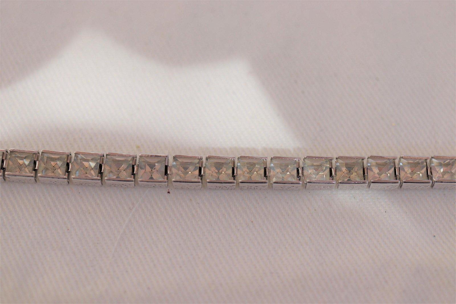 Silver tone Tennis Bracelet with Rhinestones