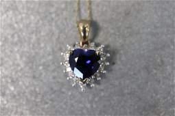 10K Gold, Sapphire & Diamond Heart Pendant