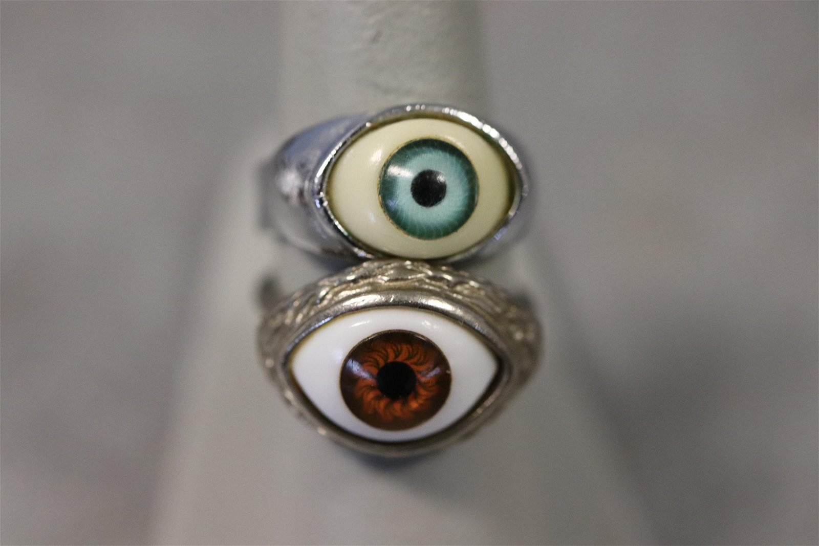 2 Vintage Ceramic Eye Ball Rings