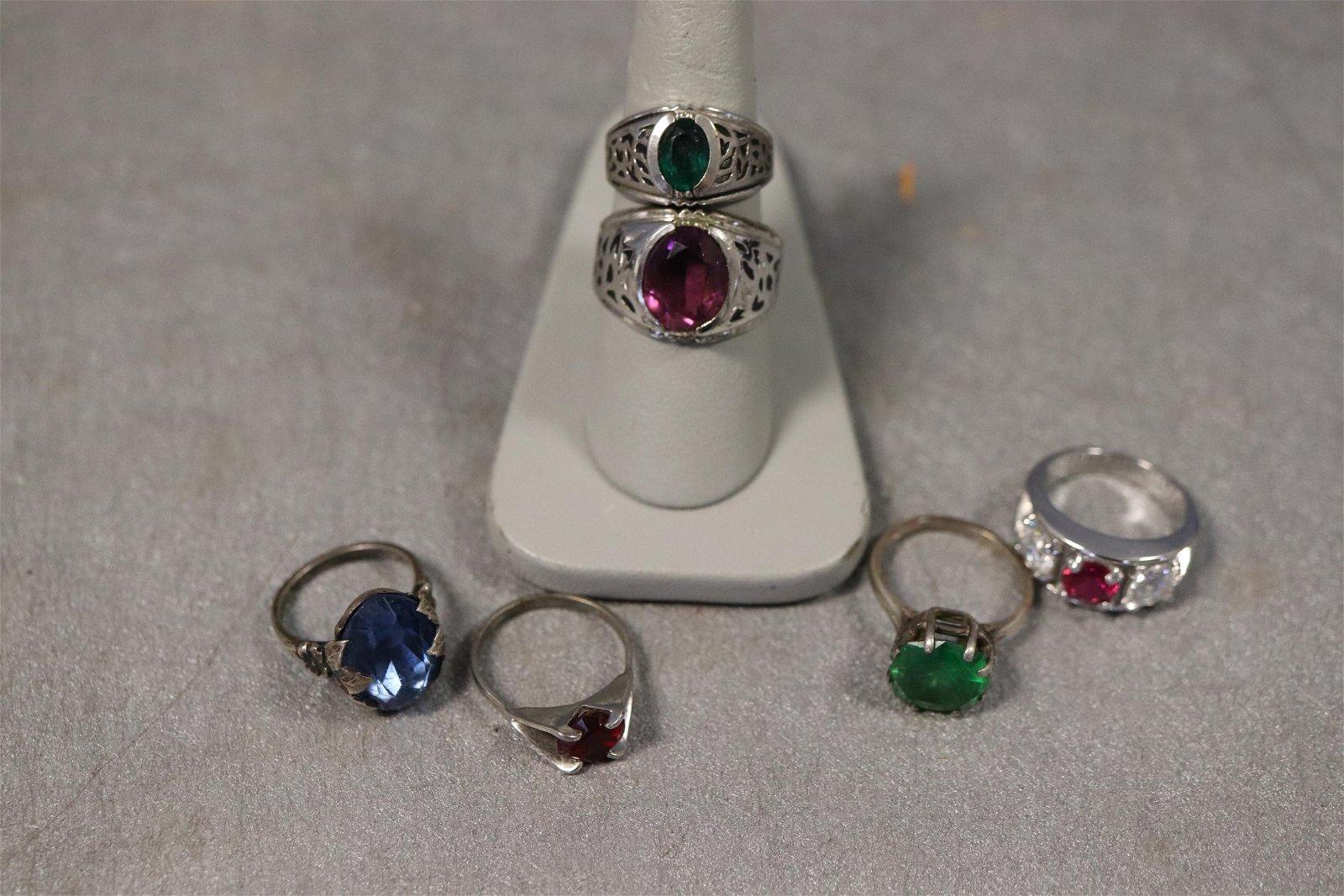 Lot of 6 Vintage Sterling Silver Rings