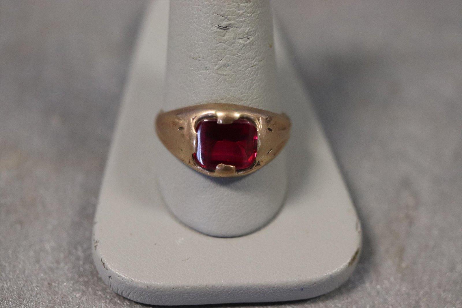 Men's 14K & Ruby Ring