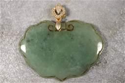 Vintage Hand Carved Green Jade Necklace Pendant