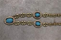Signed Turquoise & Rhinestone Linked Necklace