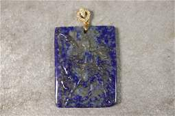 Carved Lapis Stone Necklace Pendant