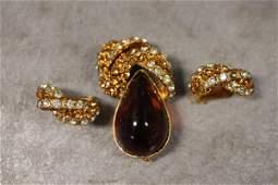 Hattie Carnegie Brooch & Earring Set