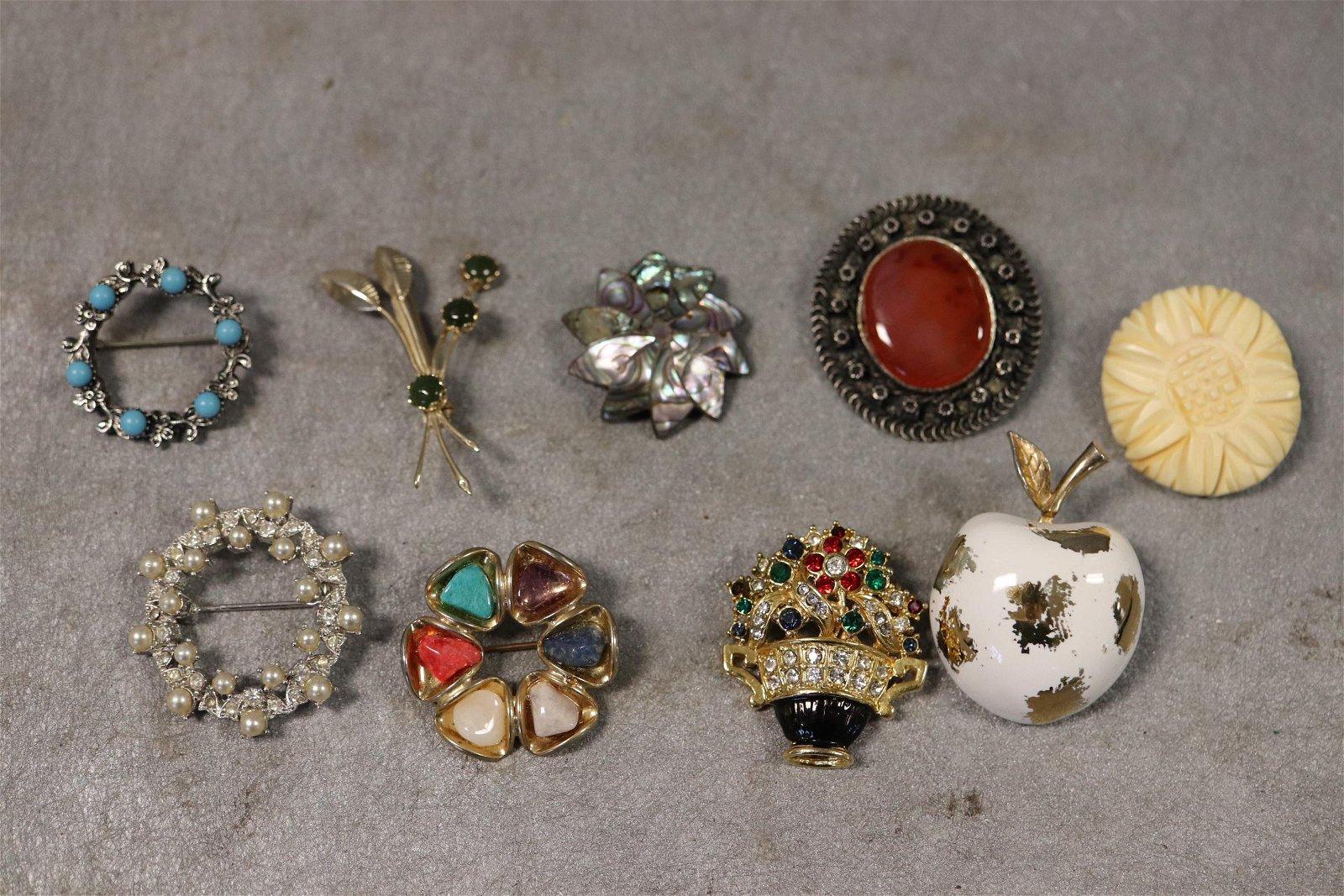 Lot of 9 Vintage Brooch Pins