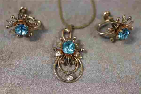 Vintage Vandell Gold tone Necklace, Earrings, Blue