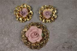 Vintage Rose Brooch & Earring Set