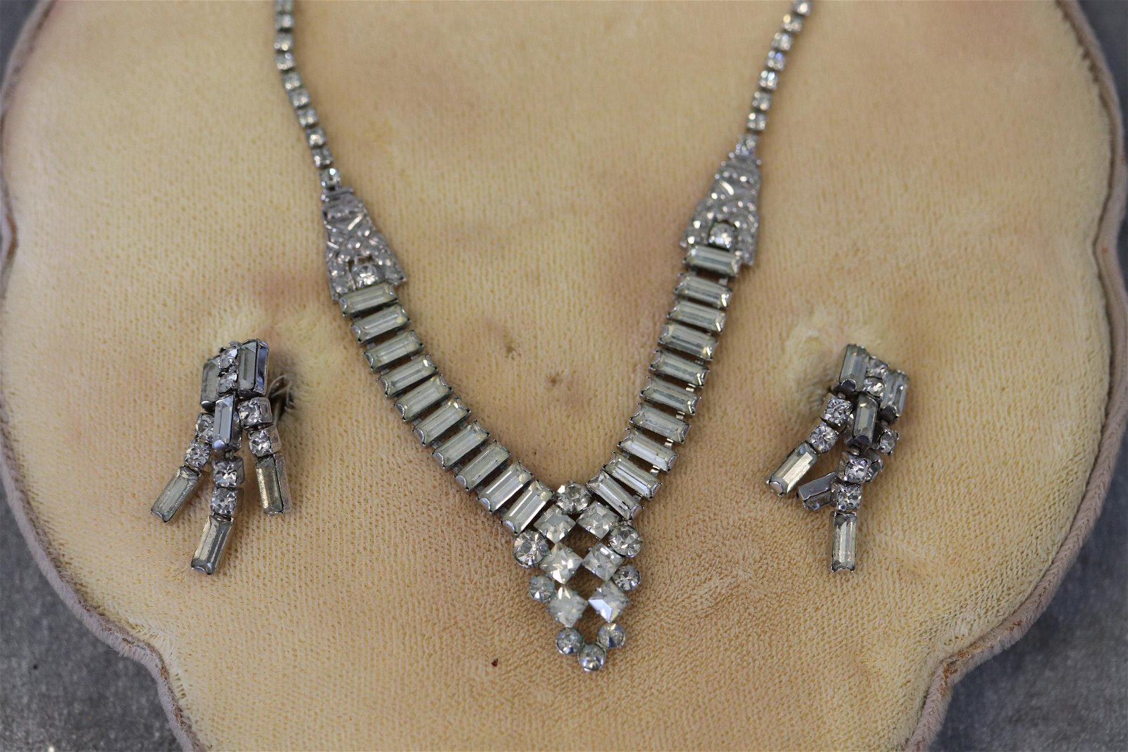Phyllis Sterling and Rhinestone Necklace, Earrings