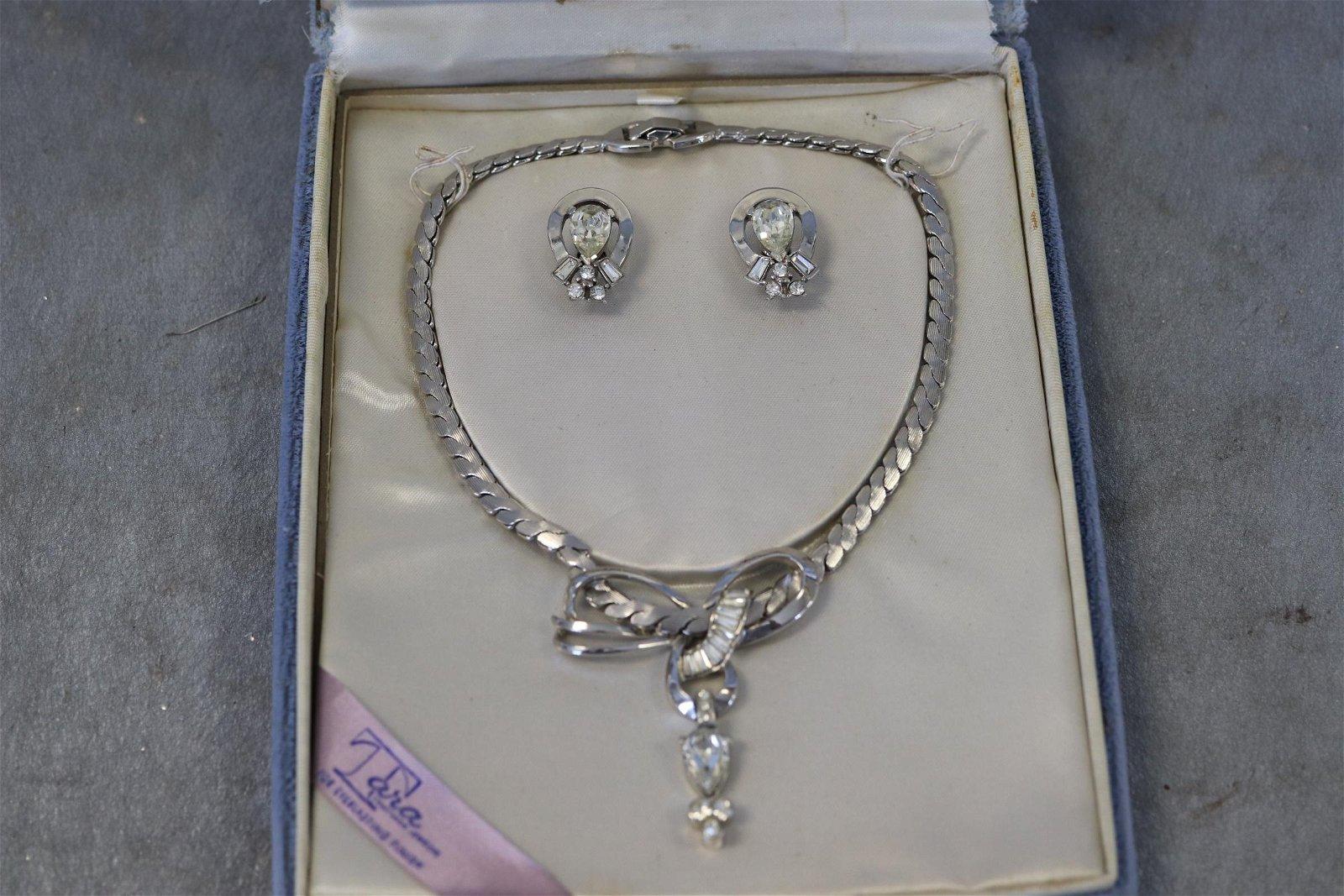 Tara Silver tone and Rhinestone Necklace, Earrings