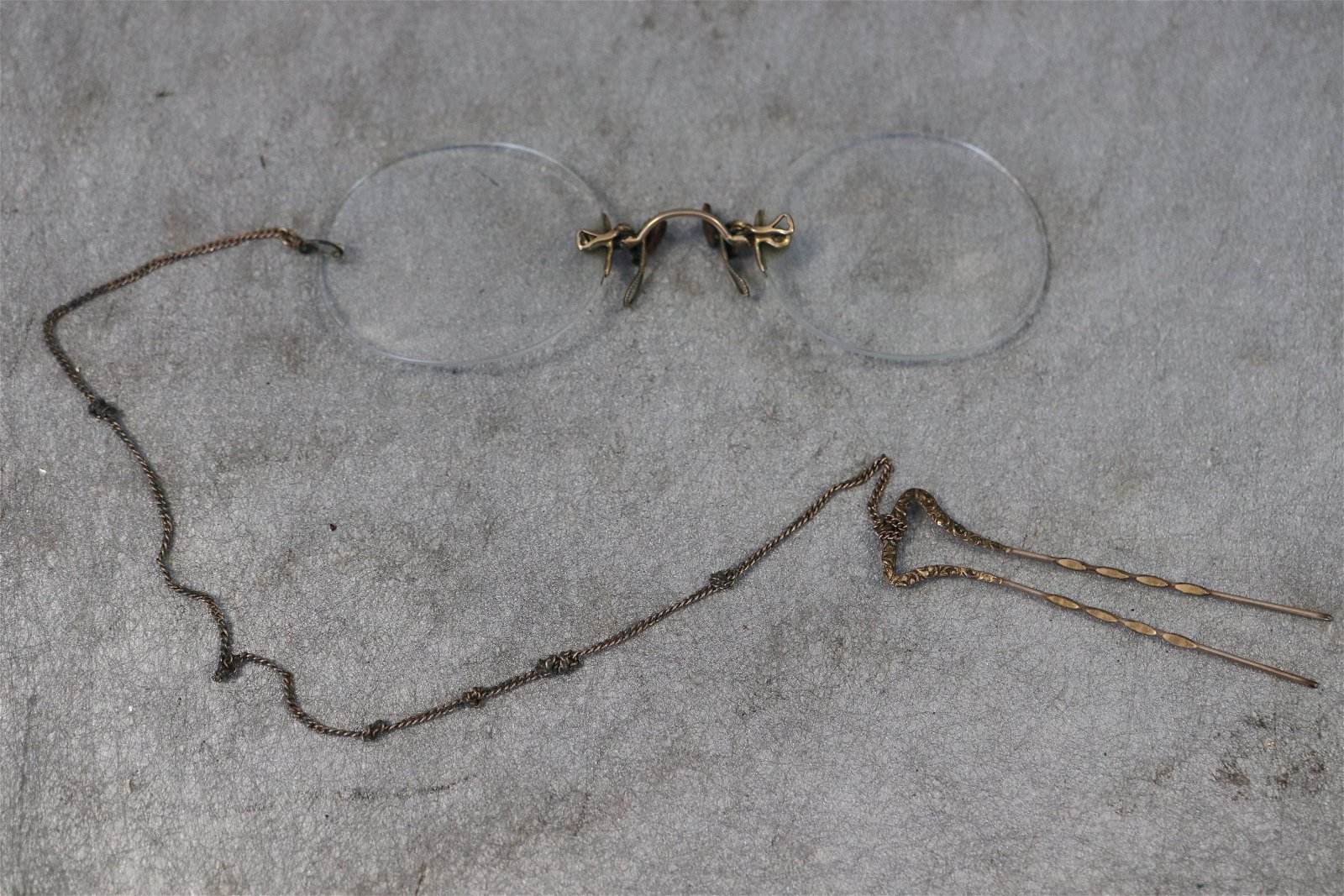 Antique Prince Nez Spectacles, Hair Pin & Chain