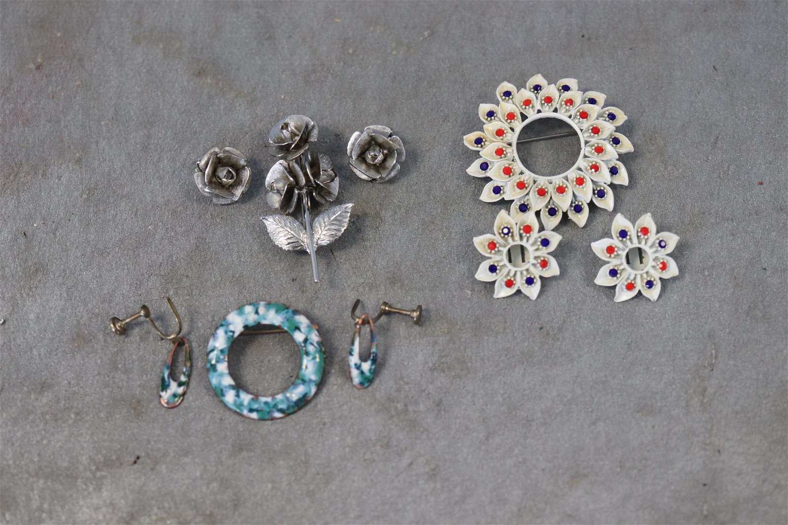 Lot of 3 Vintage Brooch Pin and Earring Sets
