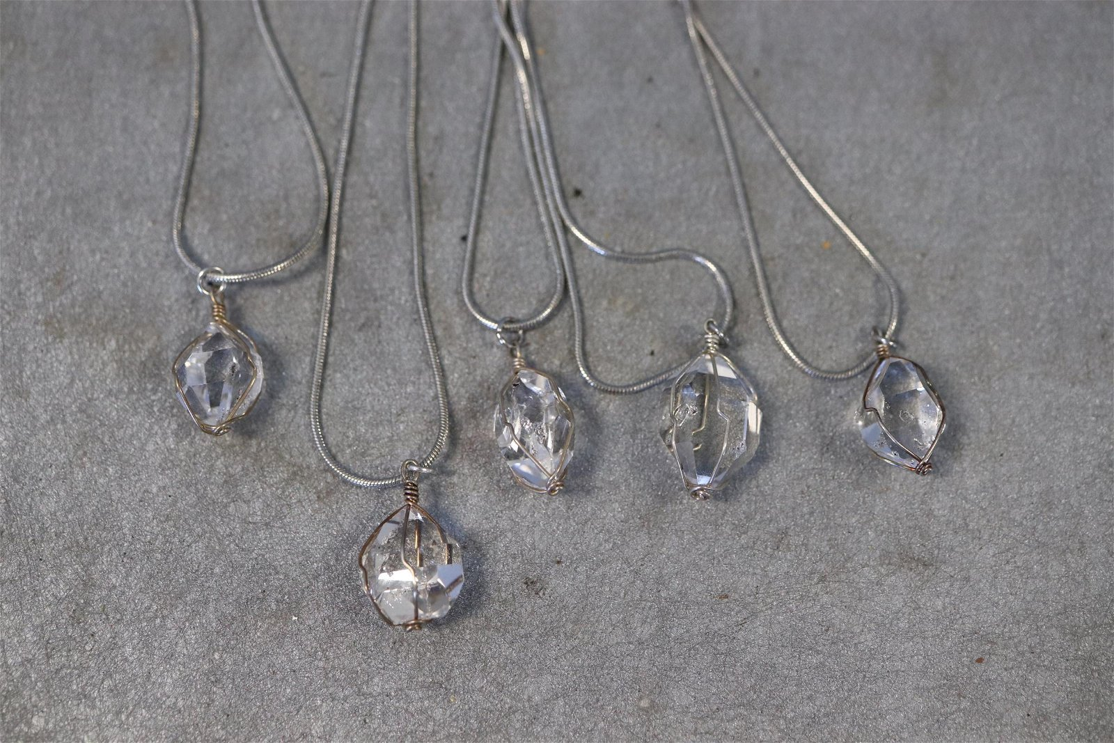 Lot of 5 Herkimer Diamond Silver tone Necklaces