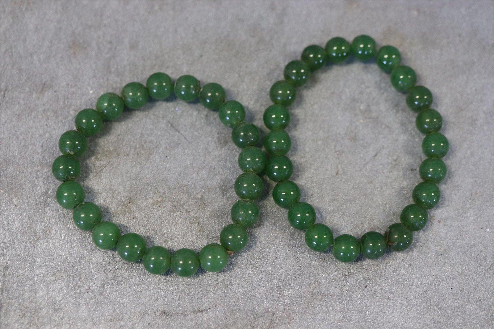 2 Jade Beaded Bracelets