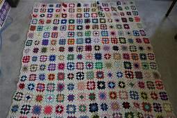 Vintage Granny Square Crocheted Afghan Blanket