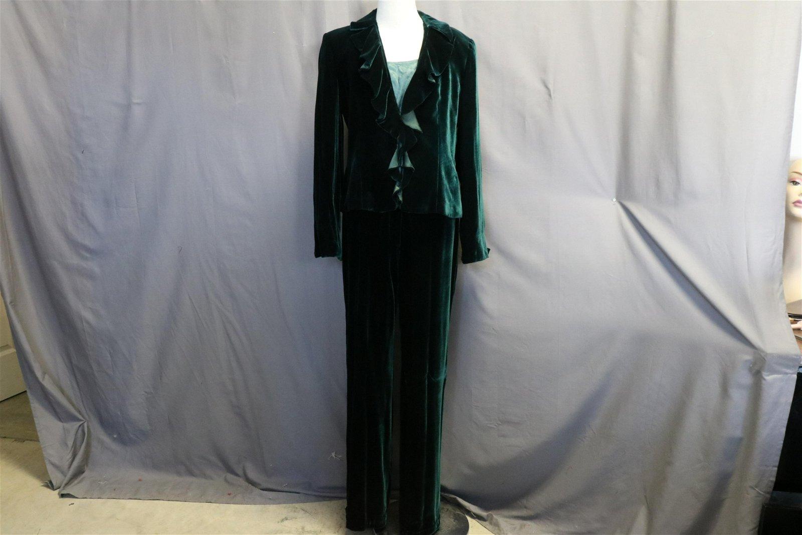 Vintage Emporio Armani Green Velvet Suit