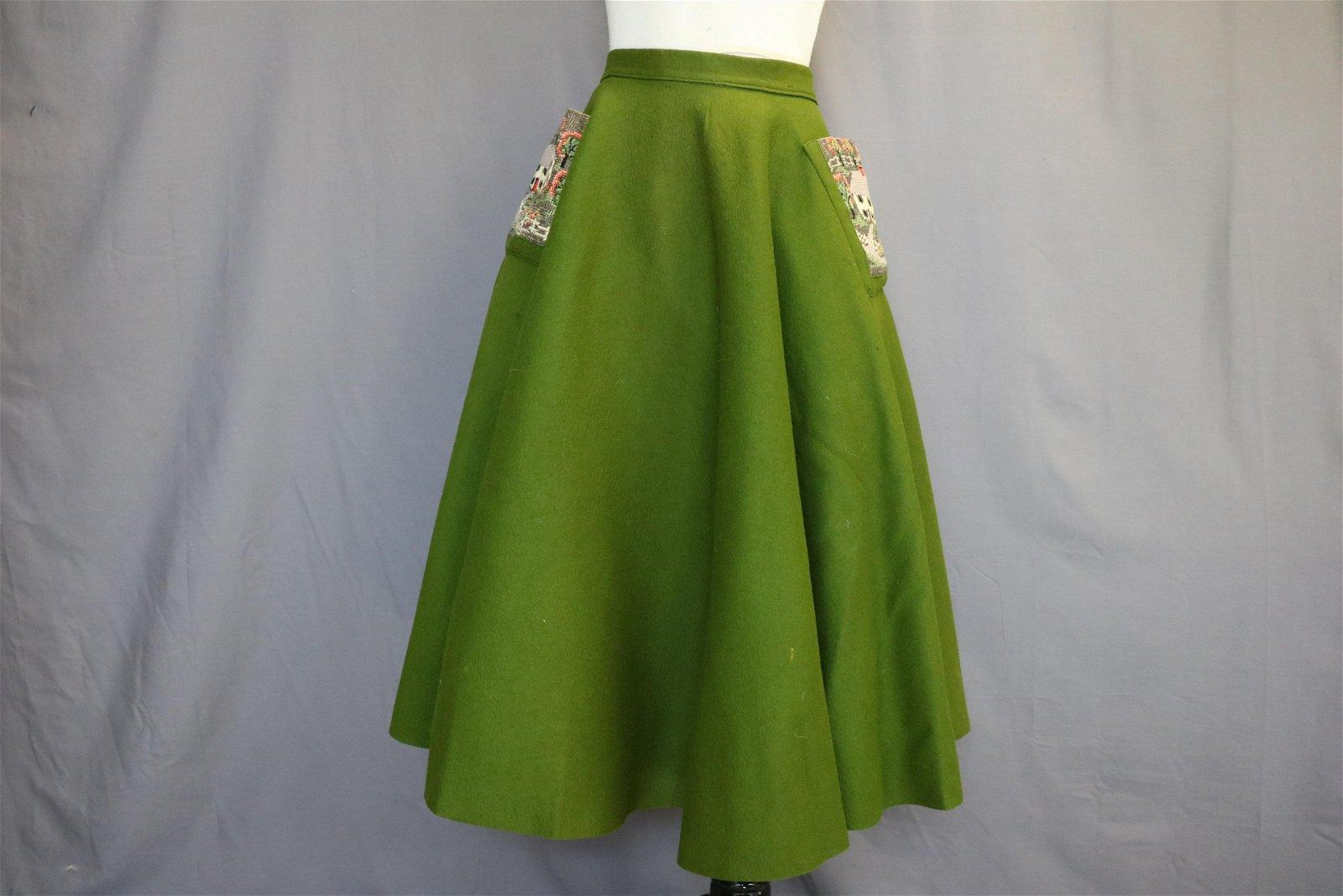 1950's Green Felt and Needlepoint Circle Skirt