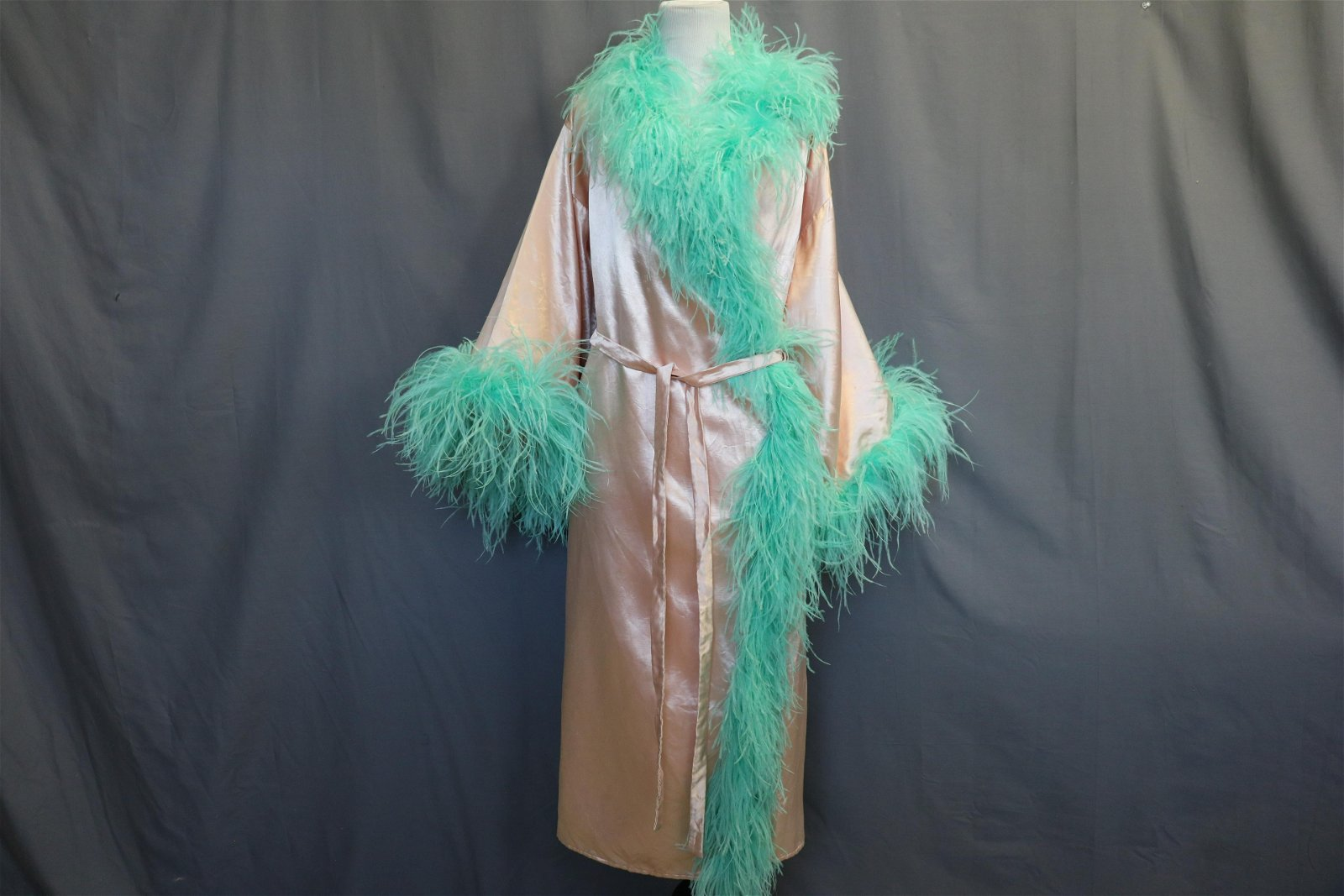 1930's Vintage Pink Satin Robe with Feather Trim