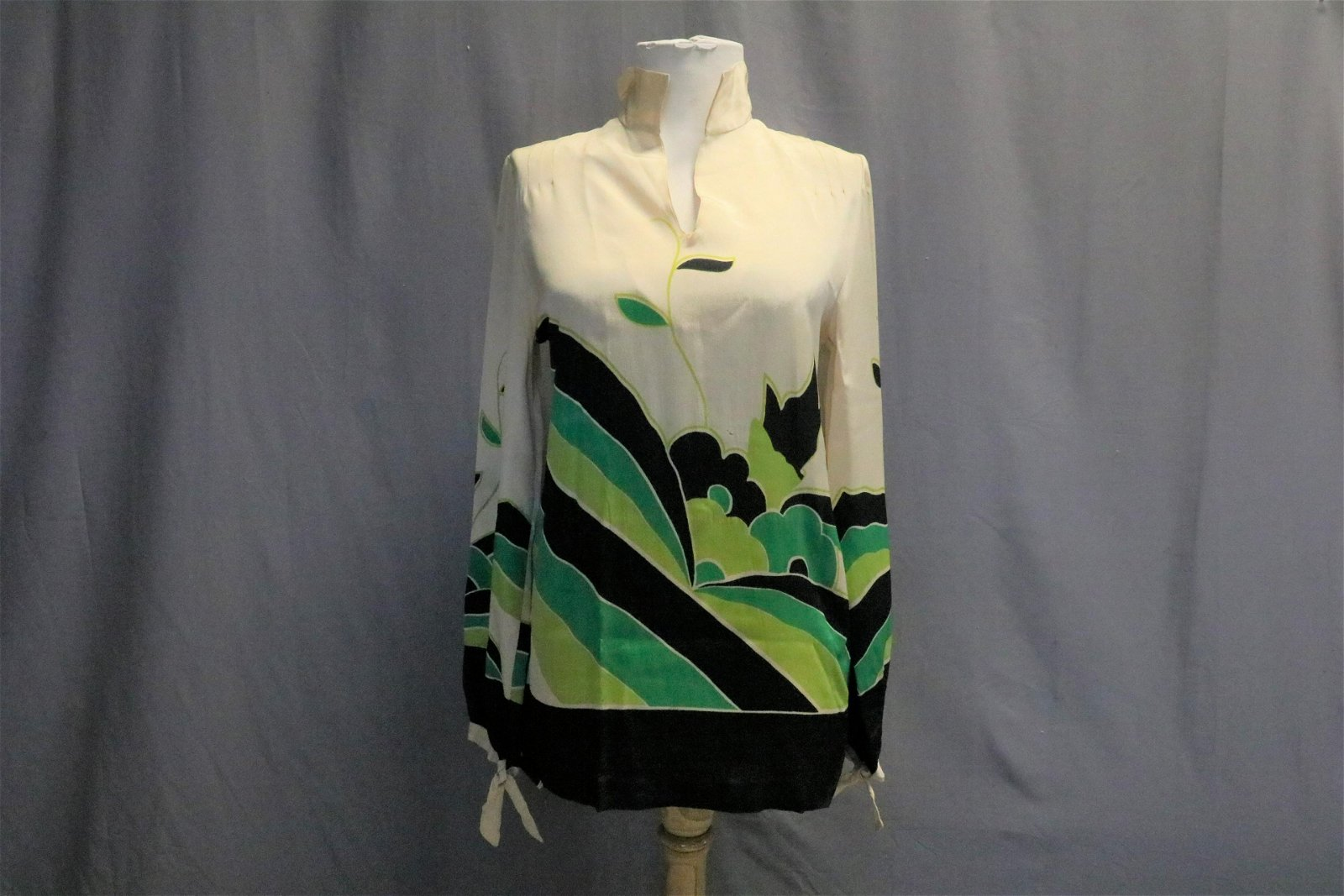 1920'a Silk Crepe Tunic Top, Blouse