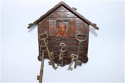 Folk Art Wooden Key Holder with Man