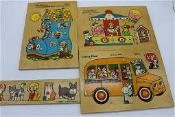 Lot of Vintage Fisher Price Wooden Puzzles