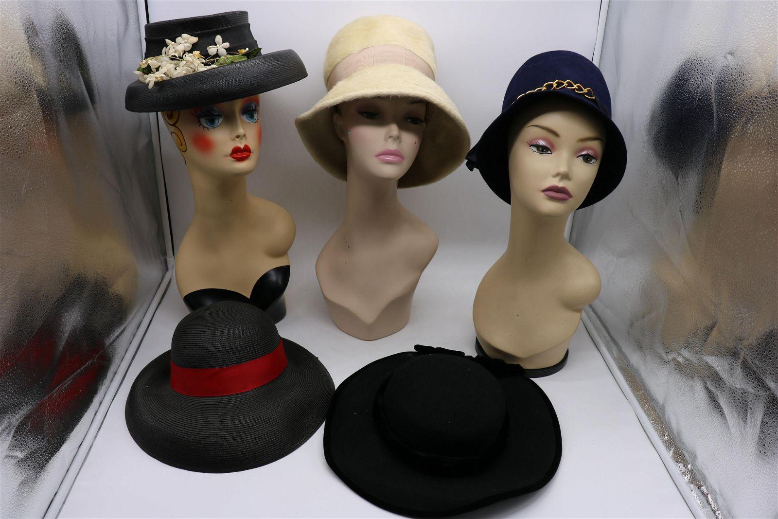 Lot Of 5 Vintage Ladies Hats