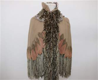 Antique 1860's Wool Hooded & Fringed Mantle