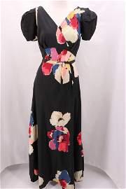 1930's Floral Silk Bias Cut Gown