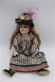 Antique French Doll with Original Silk Outfit & Hat