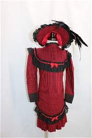 Fabulous Girls Early Red Wool Hounds Tooth Dress &