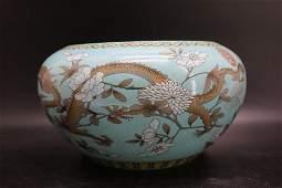 Hand Painted Asian Porcelain Dragon Bowl/Fish Tank,