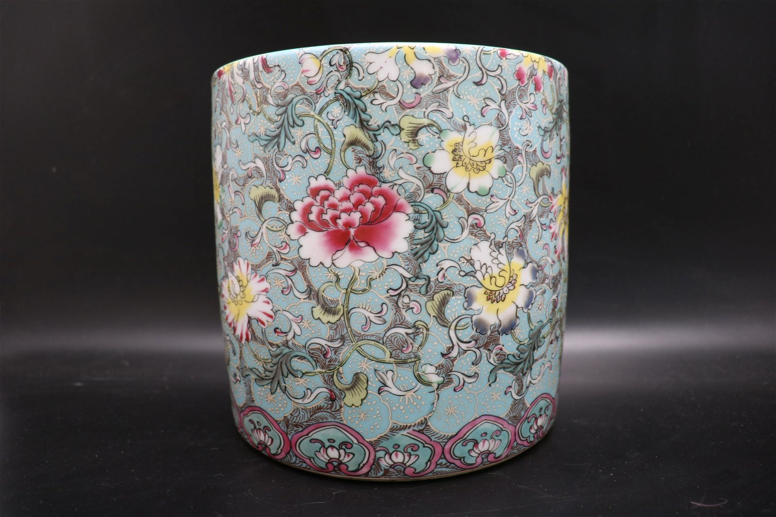 Large Asian Hand Painted Porcelain Brush Pot, Signed