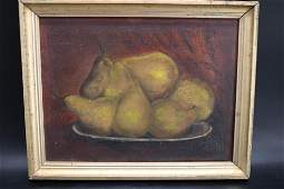 Antique Oil on Canvas Still Life Fruit
