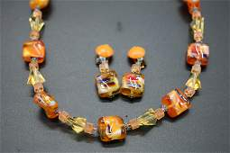 Vintage West Germany Art Glass Necklace & Earring set