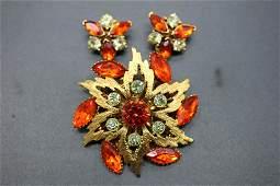 Vintage Flower Brooch & Earring Set