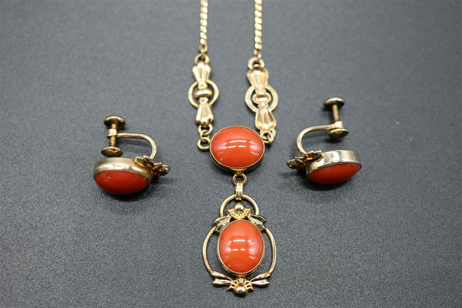 Vintage Signed Van Dell Necklace & Earrings, Gold