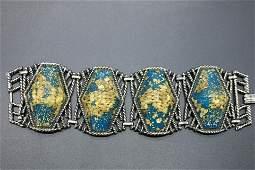 Vintage Silver Tone & Lucitte Bracelet