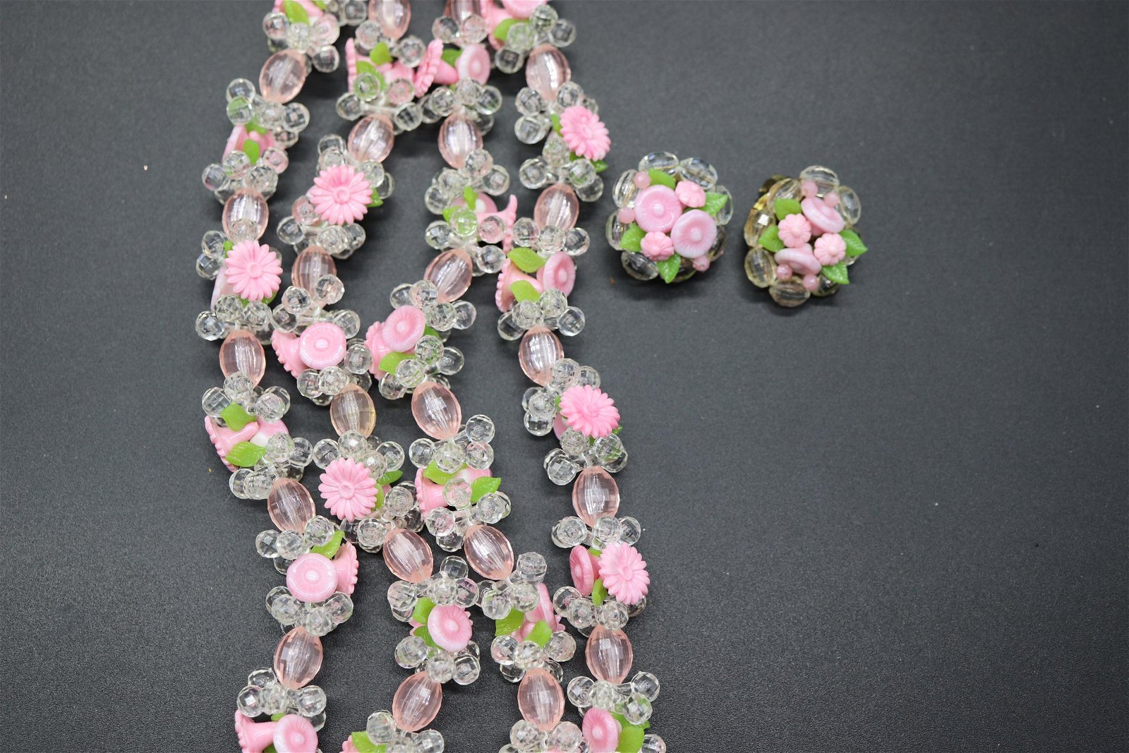 Vintage 1950/60's Plastic Floral Necklace Set, M. West