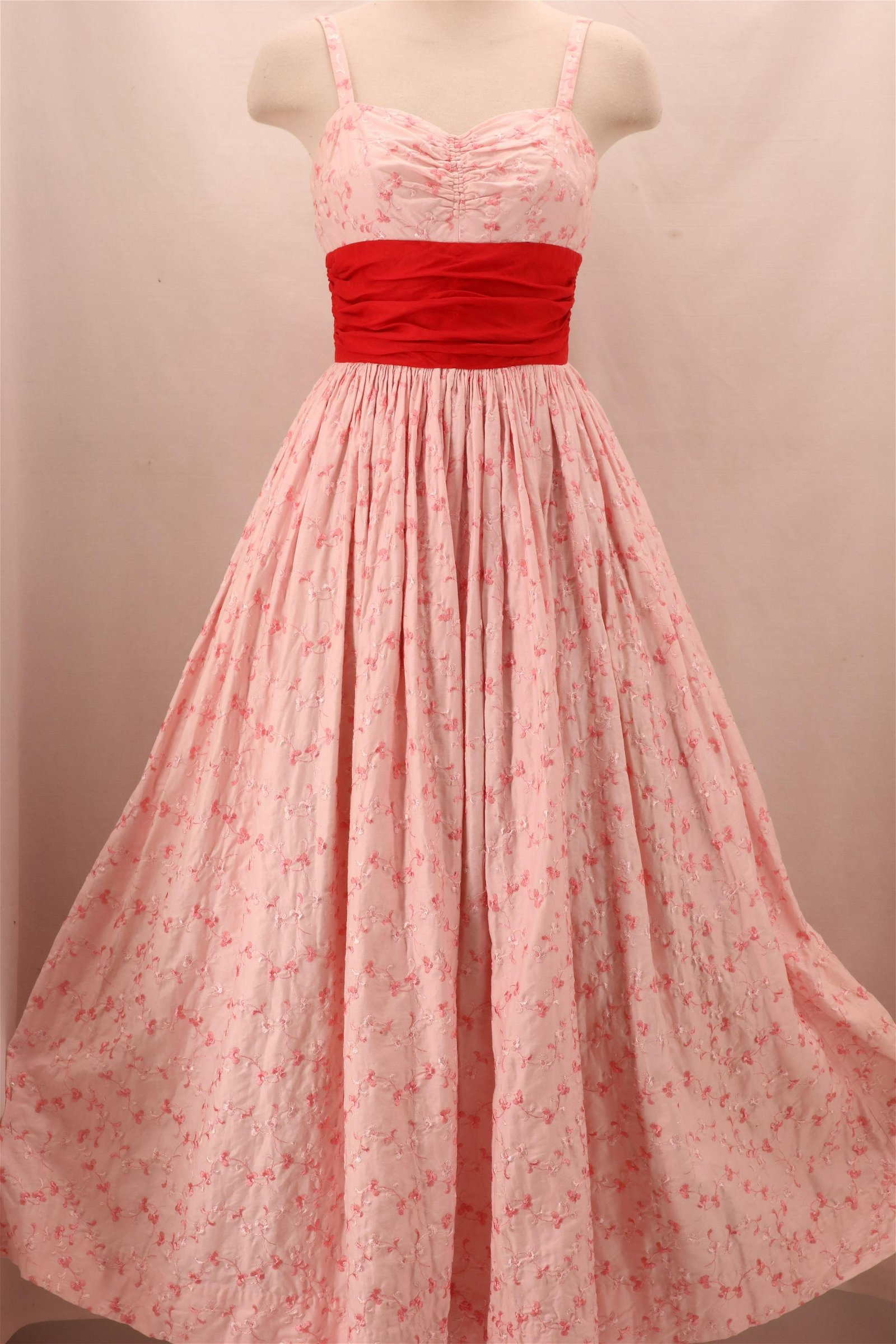 Vintage 1950's Strappy Embroidered Pink Cotton