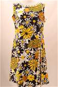 Vintage 1960's Bold Yellow and Black Floral Print