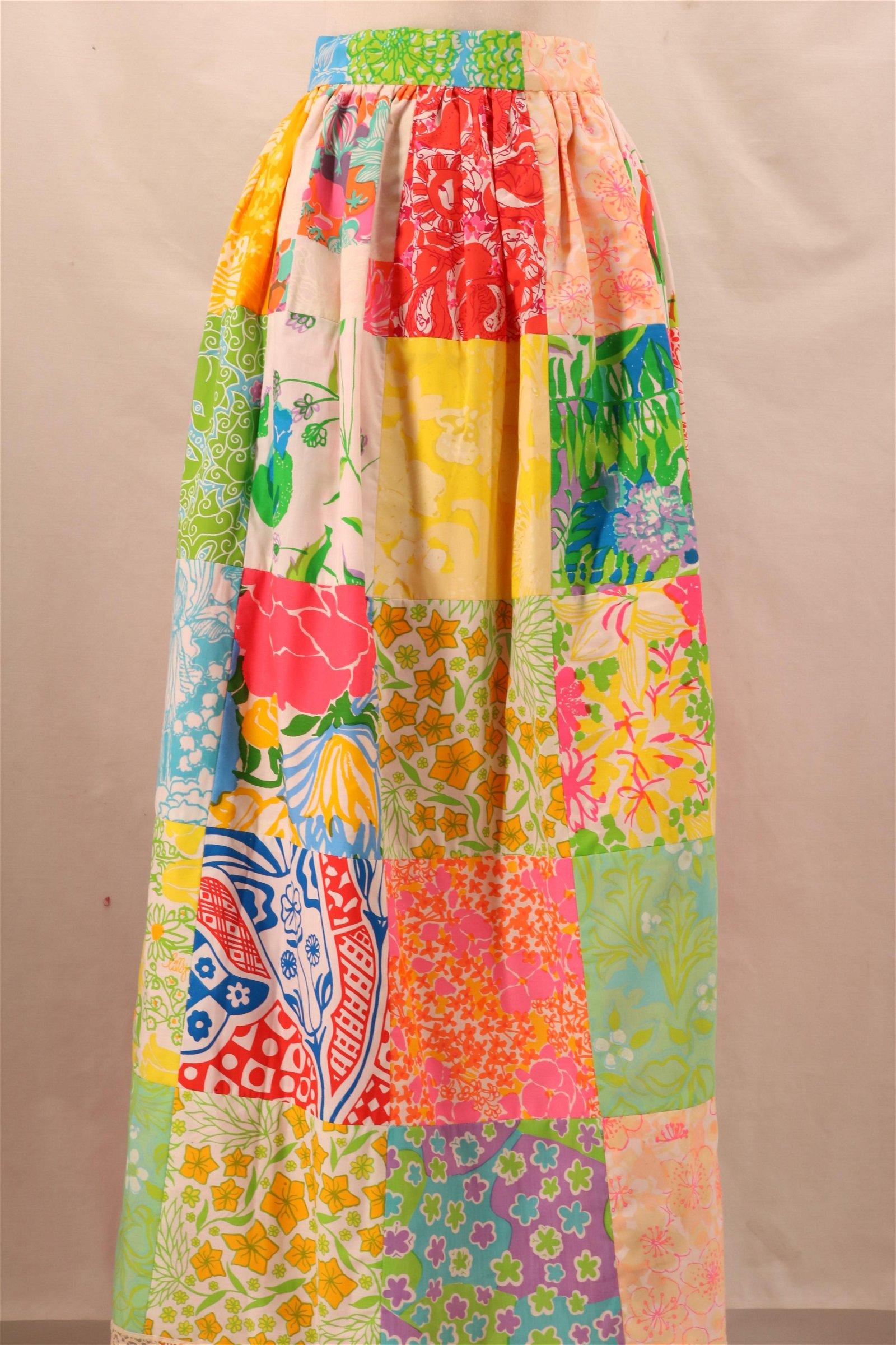 Vintage 1960's Cotton Patchwork Full Length Skirt