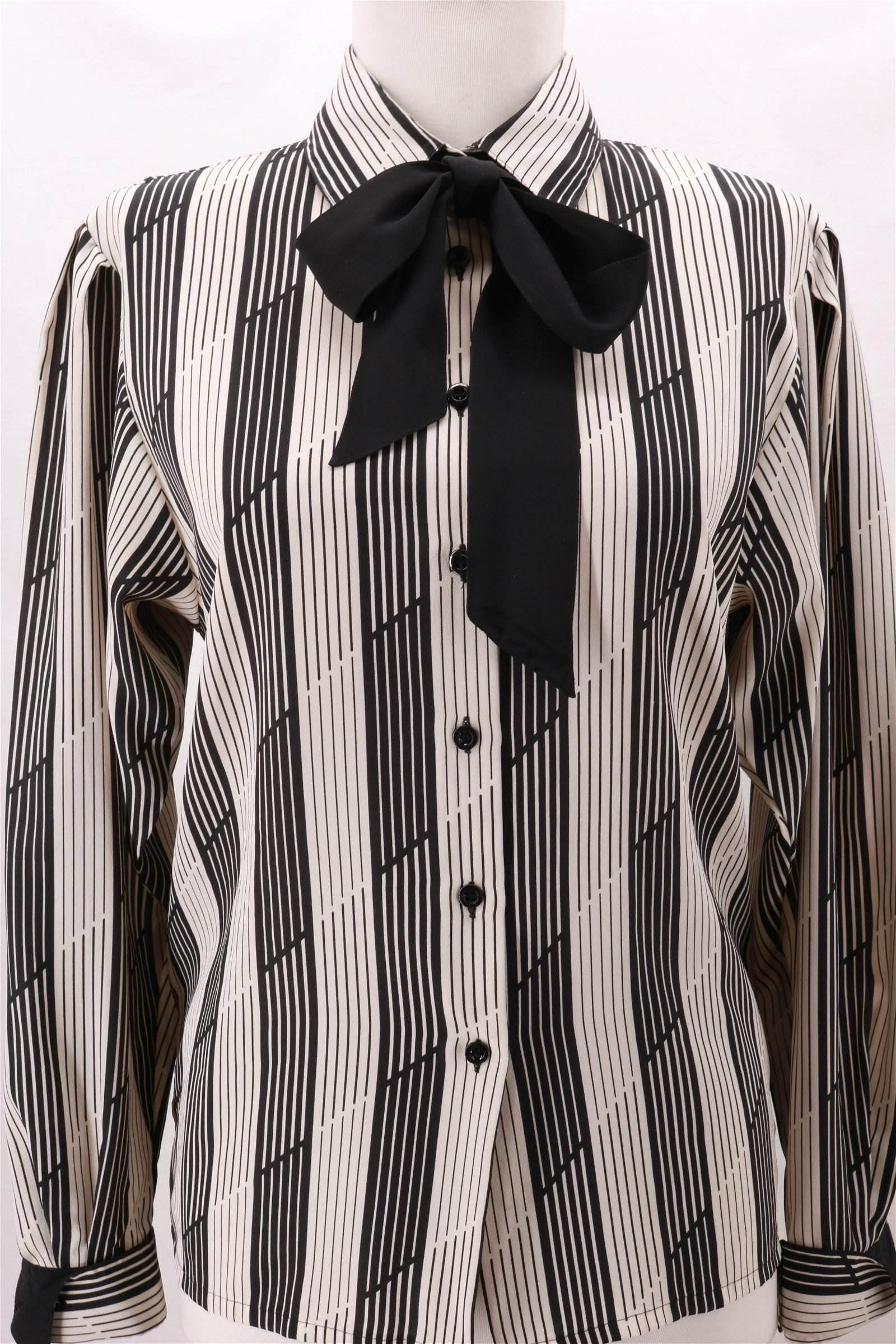 Vintage JAEGER Stripe Black and White Blouse with