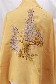 Vintage Gold Silk Shawl with Silk Embroidery
