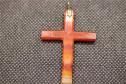 Antique Victorian Banded Agate Cross Pendant