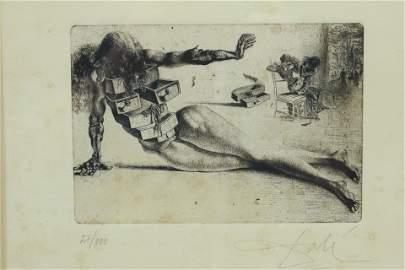 Salvatore Dali Etching - City of Drawers