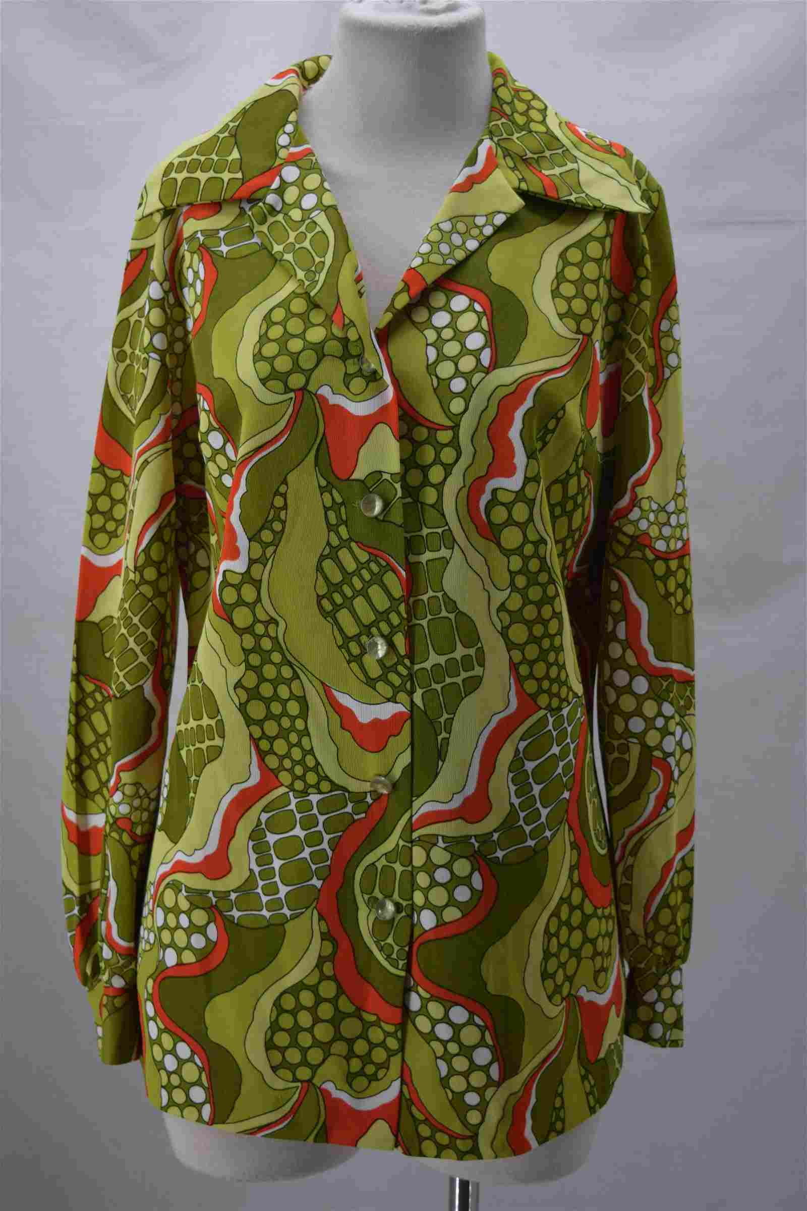 1970'S GREEN POLYESTER BLOUSE  PYKETTES