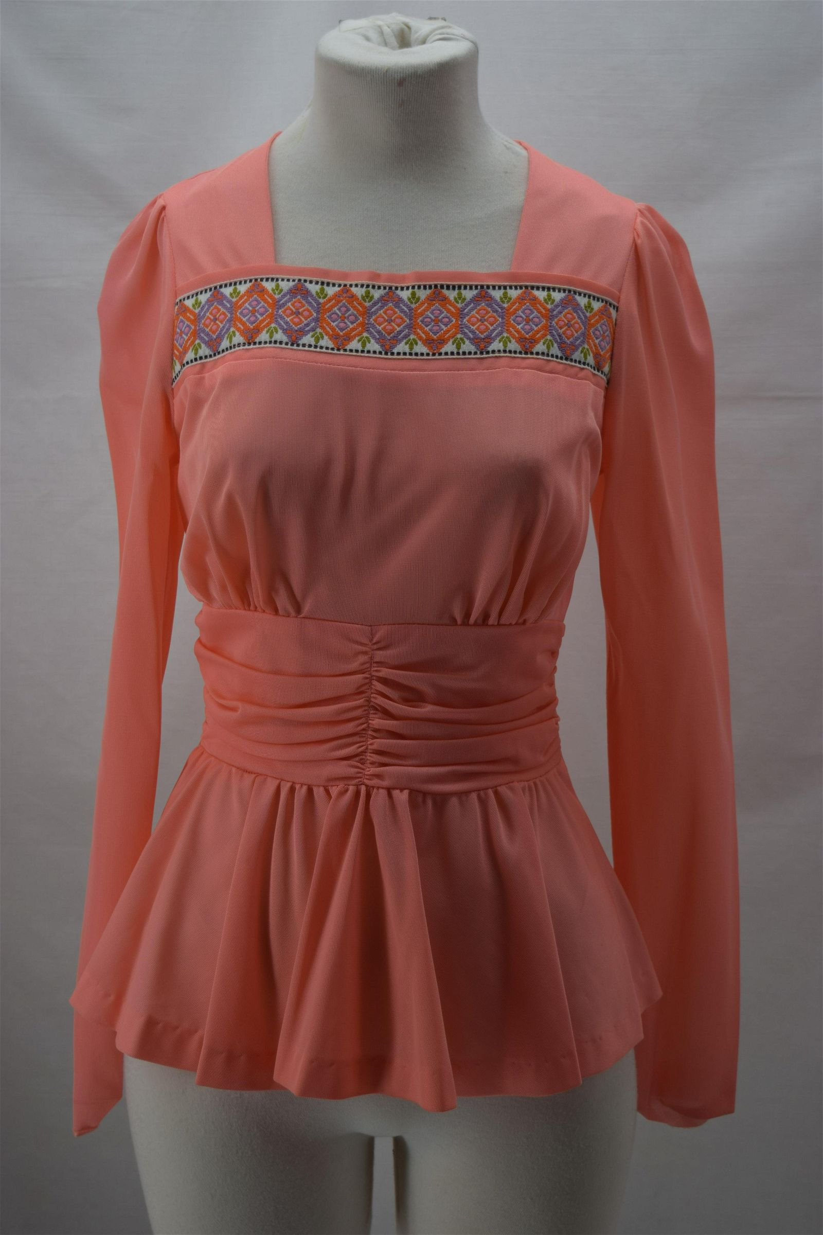 1970'S PINK POLYESTER BLOUSE WITH RIBBON TRIM