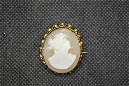 Victorian Hand Carved Cameo Brooch